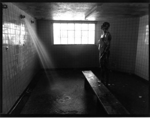 Inmate in shower- 'B-East' cellblock-Stateville- 1992